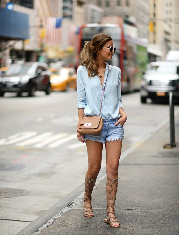 How to wear flat ankle boots with shorts