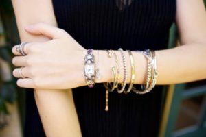 Stacking Diamond Bracelets with a Watch
