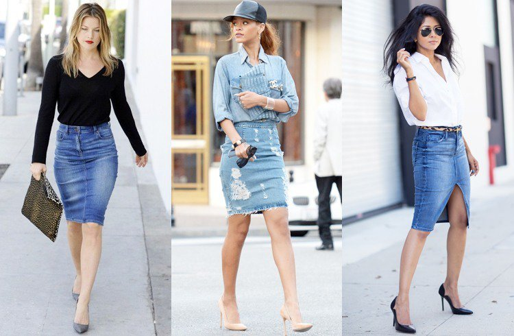 How to Wear a Jean Pencil Skirt