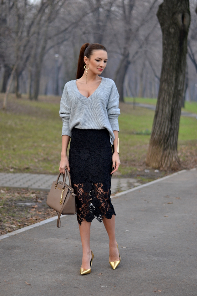 What to Wear with Black Lace Pencil Skirt