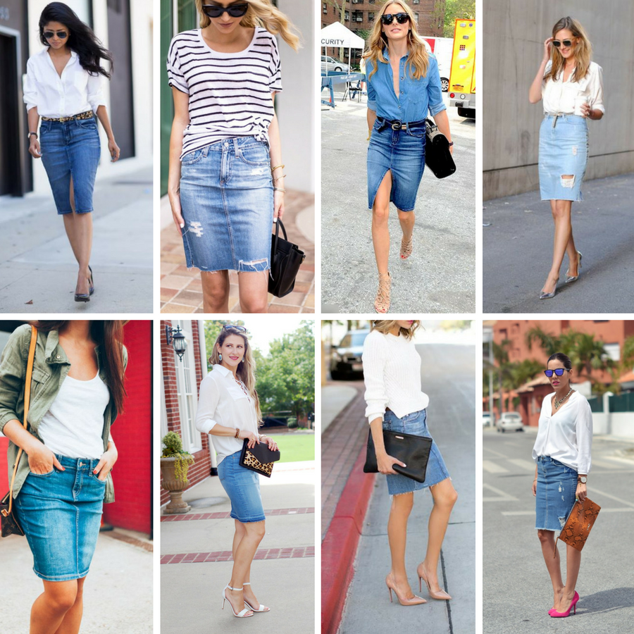 What to Wear with Denim Pencil Skirt