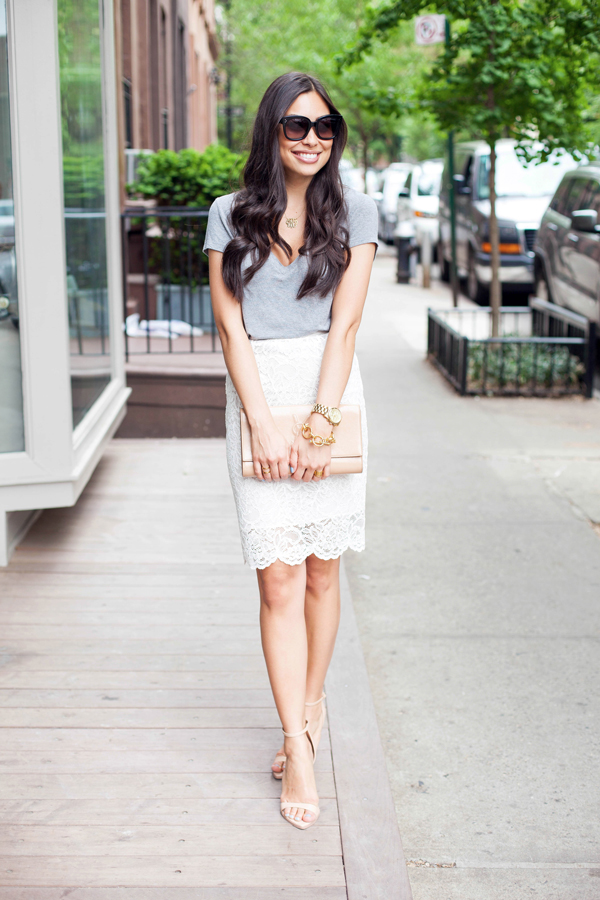 What to Wear with a Lace Pencil Skirt