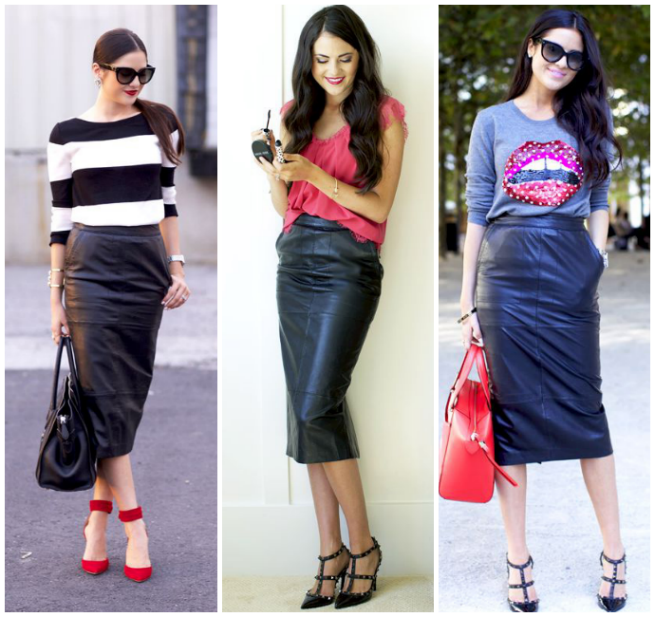 What to Wear with a Leather Pencil Skirt