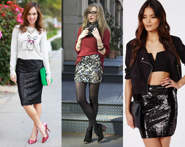 How to Wear a Sequin Pencil Skirt