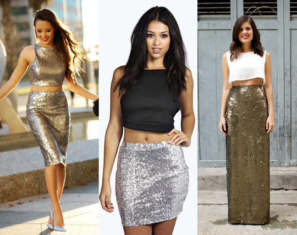 What to Wear with Silver Sequin Skirt