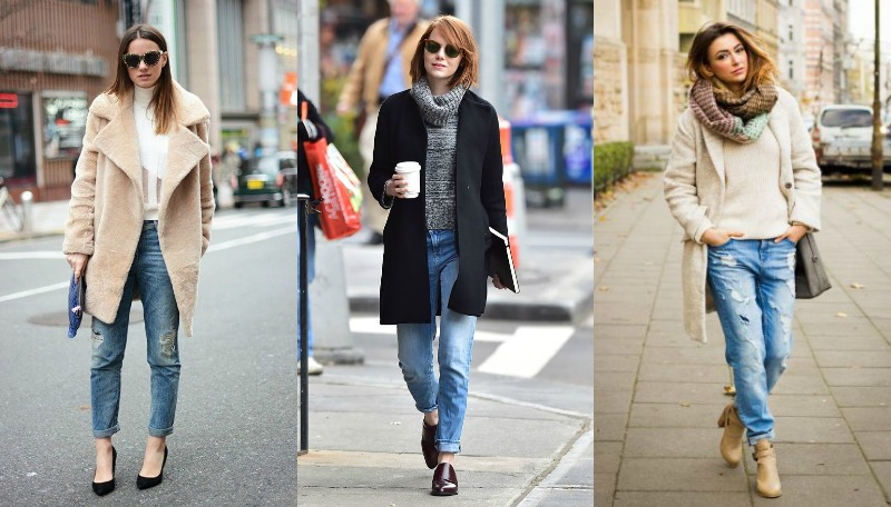 How to Wear Boyfriend Jeans in Winter