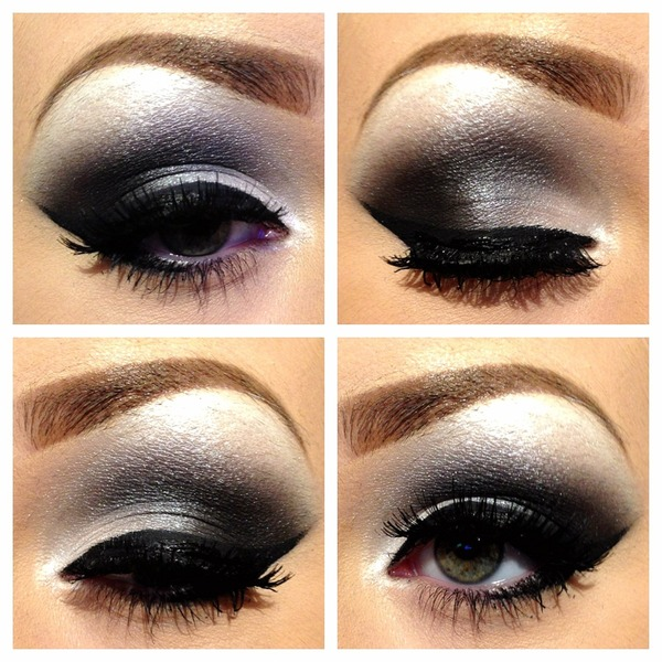 Black white silver smokey eye