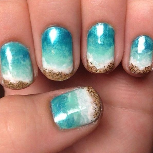 Blue and White Glitter Ombre Nails