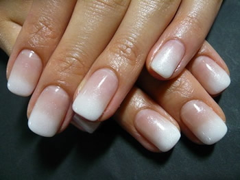 French Ombré Nails with Pink and White