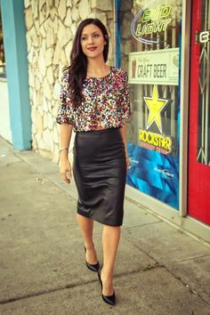 How to Wear a Black Leather Pencil Skirt