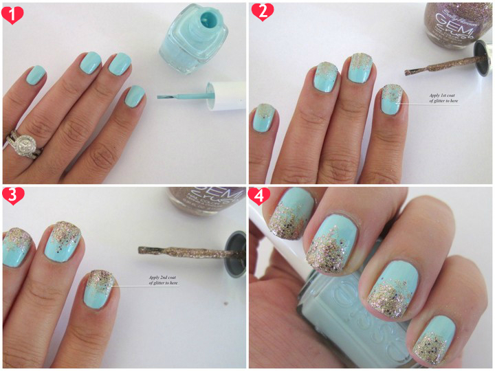 How to do Gradient Nails with Glitter