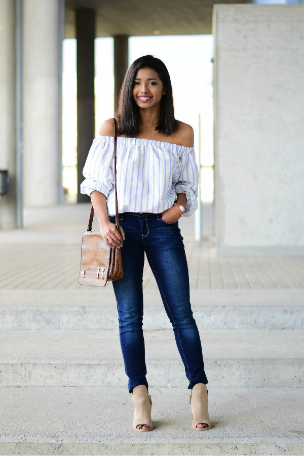 Off-the-Shoulder Tops with Skinny Jeans