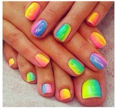 Rainbow Ombré Nails