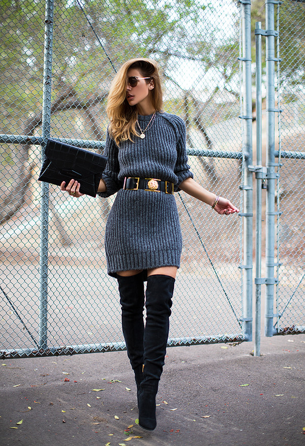 Sweater Dress and Thigh High Boots