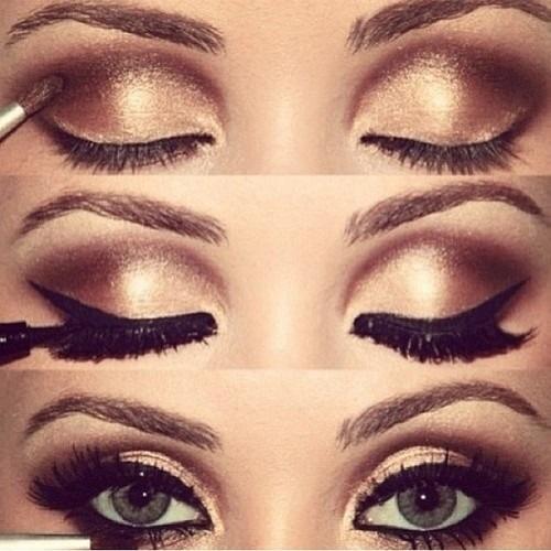 Gold smokey eye for brown eyes