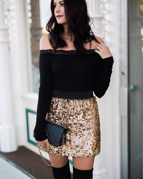 Gold Mini Skirt Outfit