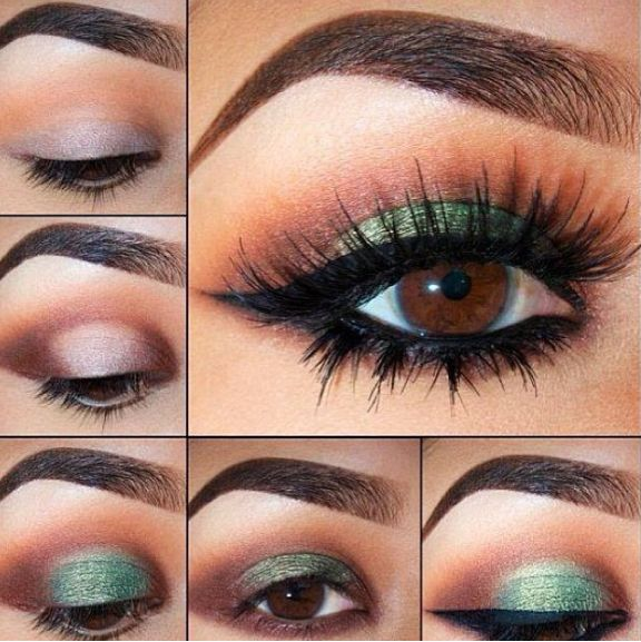 Green and Brown Smokey Eye
