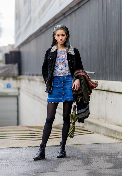 Jean Mini Skirt Outfits