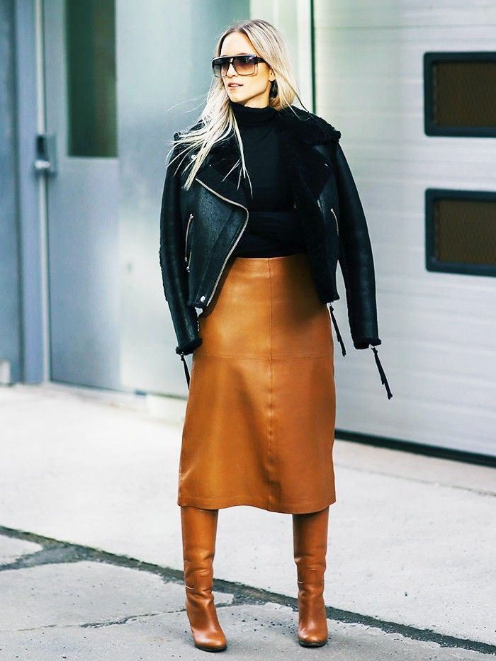 Leather Skirt and Boots