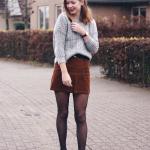 Velvet Mini Skirt Outfits