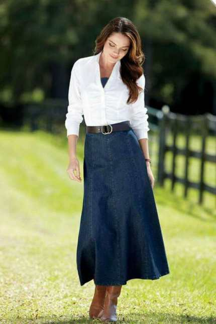 Blue Denim Skirt Outfit
