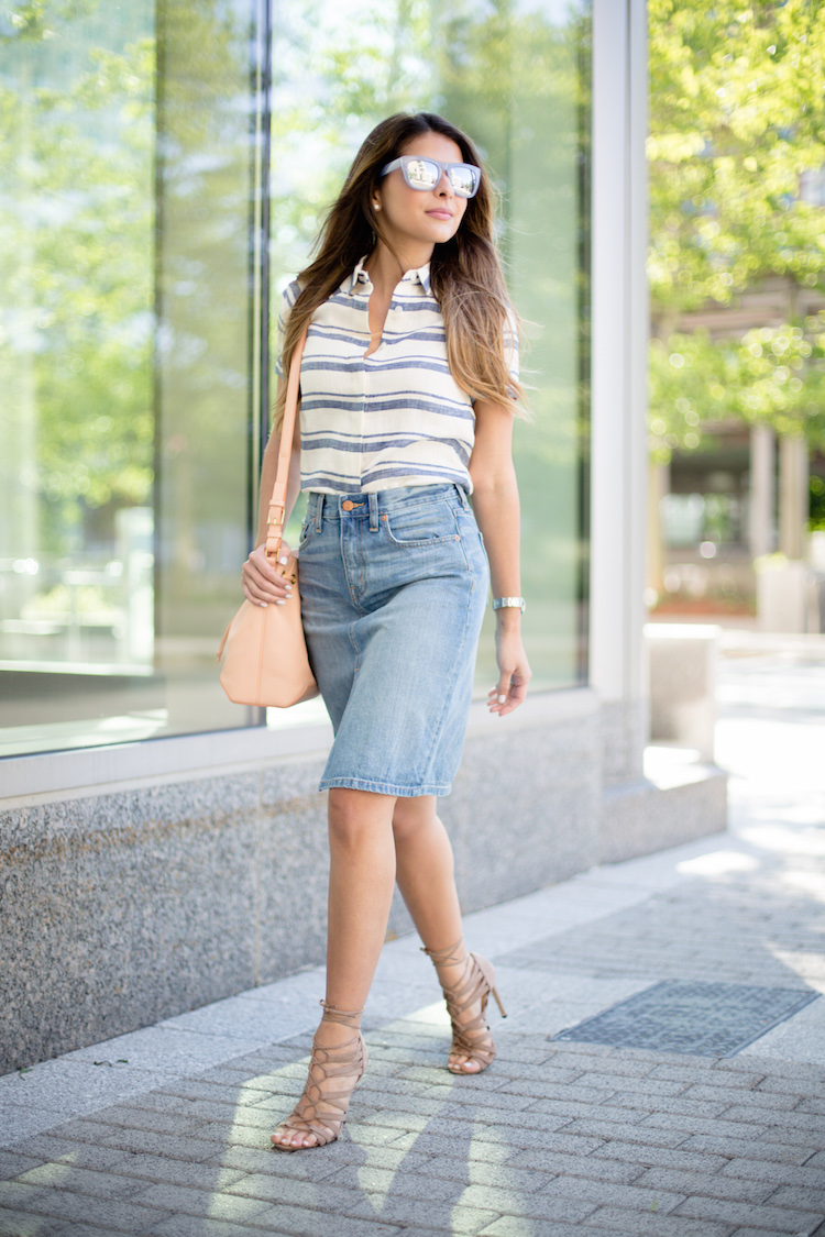 Denim Pencil Skirt Outfit