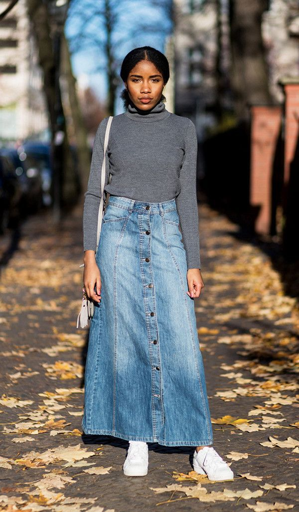 Long Denim Skirt Outfit