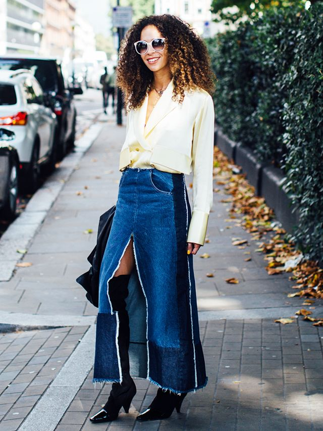 What to Wear with a Denim Skirt in Winter