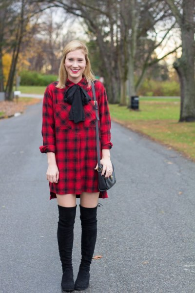 Long Flannel Shirt Dress Outfit