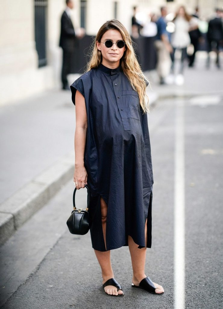 Oversized Maternity Shirt Dress Outfit for